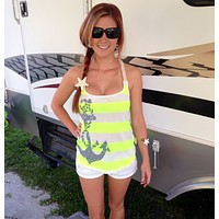 Racerback Tank Top - Country Shore - Rope Anchor - Yellow Striped