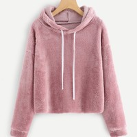Fluffy comfy pullover hoodie sweater