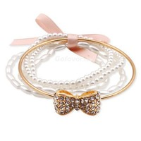 Fashion PearlsGold Bow Beaded Strand Bracelet at Online Jewelry Store Gofavor - wanelo on we heart it / visual bookmark #18601912