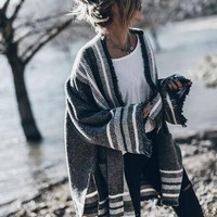 Cardigan Winter Knit Ladies Stylish Stripes Plus Size Sweater Jacket [189416898586]