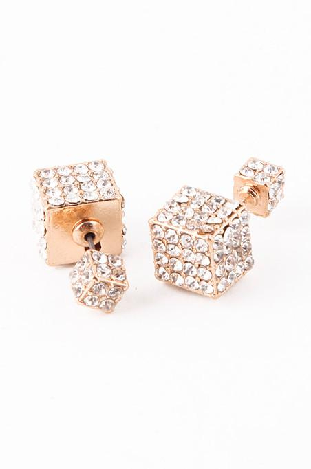 Image of Double-Sided Cube Earrings (Gold)