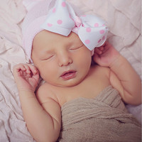 Baby Beanies for Girls – Pink & White Stripe Newborn Hat with Pink Polka Dot Bow – Stretchy Hospital Hat Material So Guaranteed to Fit