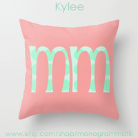 """Monogram Personalized Custom """"Kylee"""" Pillow Cover 16x1""""Initials Unique Gift for Her Him Couch Bedroom Room Ombre Light Pink Mint Green Dots"""