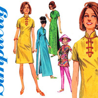 1960s Chinese Dress and Tunic Pattern Bust 36 Simplicity 6537 Cheongsam Maxi Dress Cigarette Pants Koolie Hat Womens Vintage Sewing Patterns