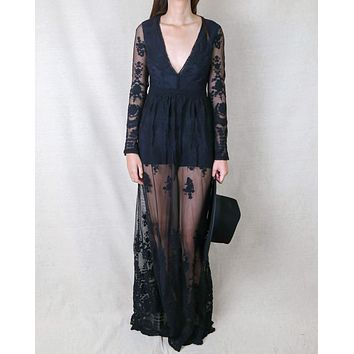 Say My Name Embroidered Maxi Dress in Black