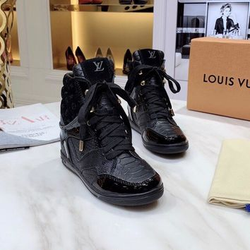 LV Louis Vuitton Women Fashion leather black High Top Mid Boots with strings flats Shoes Winter Autumn best quality