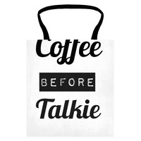 coffee before talkie tote wht