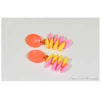 Vintage retro neon orange, pink, yellow faceted plastic clip-on dangle earrings, women's jewelry