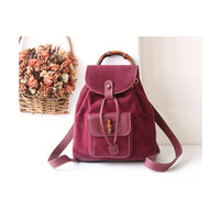 Auth Gucci Bamboo Purple Suede Leather Backpack vintage handbag