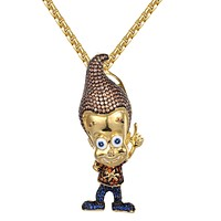 Gold Finish Cartoon Character Hip Hop Pendant Free Box Chain