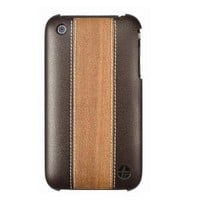 Trexta Wood and Leather Series Snap-On Case for iPhone 3G/3GS - Cherry on Brown