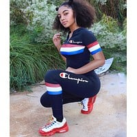 Champion Summer Popular Women Casual Print Top Pants Trousers Set Two-Piece Sportswear