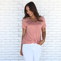 Knot Fair Jersey Top In Rose Pink
