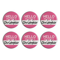 Christopher Hello My Name Is Plastic Resin Button Set of 6