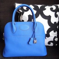 Hermes Bolide 31 Bleu Zanzibar Bag Hand Shoulder Taurillon Women X mark New Auth