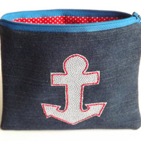 Zippered Anchor Denim Coin Purse - Upcycled