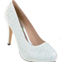 White Wedding Jeweled Glitter Beaded Formal Party LOW Heels Pumps
