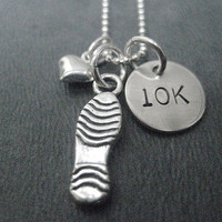LOVE to RUN 10K - 18 inch Sterling Silver Running Necklace on 18 inch Chain - Choose either a Flat Shoe Print or 3 Dimensional Running Shoe