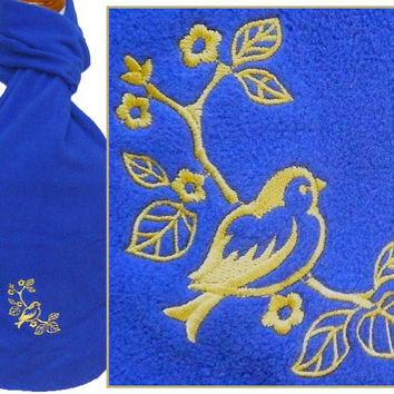 Bird & Blossoms on Tree Branch Scarf Fluttering Flowers Monogram Embroidered Custom NWT