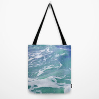 Mermaid Waters 2 - Tote Bag, Blue Green Beach Ocean Style Surf Accessory, Boho Hippie Chic Market Shopping Tote. In Smal / Medium / Large