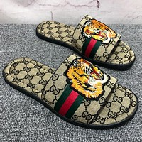 GUCCI Summer Fashion Men Casual Tiger Head Embroidery Red Green Stripe Sandal Slipper Shoes Khaki I12990-1