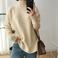 10 colors 2016 autumn and winter Solid color brief small sweep placketing turtleneck sweaters womens sweaters and pullovers