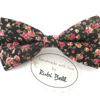 Bow Tie - black floral bow tie - wedding bow tie - black bow tie with pink flower pattern - man bow tie -men bow tie-gifts for him