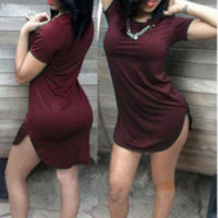 Casual All-match Irregular Hem UltraShort Dress Wine Red