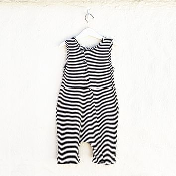 Tank Romper - Black + White Stripes
