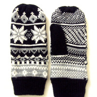 Knit Winter Gloves Mittens Fleece Lining Snowflake Mittens Women Traditional Scandinavian Pattern Fair Isle Knit Fashion Accessories