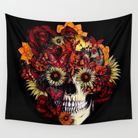 Full circle...Floral ohm skull Wall Tapestry by Kristy Patterson Design