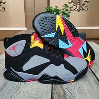 "alwayn JORDAN 7 RETRO ""Bordeaux"" basketball shoes AJ7 Bordeaux sneakers grey colorful soles"