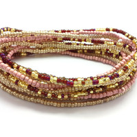3 Stretch seed bead wrap bracelets, stacking, beaded, boho anklet, bohemian, stretchy stackable multi strand, red, maroon, gold, pink