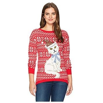 Isabellas Closet Womens Fairisle Cat Ugly Christmas Sweater Various Sizes, Color
