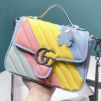 GUCCI New fashion multicolor leather shoulder bag crossbody bag handbag