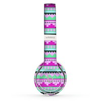 The Lime Green & Purple Tribal Ethic Geometric Pattern copy Skin Set for the Beats by Dre Solo 2 Wireless Headphones