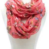 BIRD & FLORAL PRINTED INFINITY SCARF