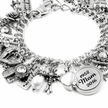 Personalized Memorial Charm Bracelet with Urn