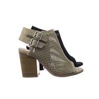 Stage Block Heel Peep Toe Open Back Ankle Booties w Perforated Cuts, Women Shoes