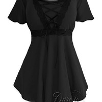Angel Gothic Top in Black/Black with Ribbon Lacing