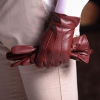 Harssidanzar Mens Top Quality Italian Sheepskin Leather Gloves Vintage Finished Wool Lined