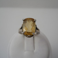 Sterling Silver 925 Oval Cut Yellow Topaz Ring Size 7.5 925
