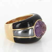 Ming's 18 Karat Gold Ring Vintage Carved Amethyst Onyx Hematite Estate Jewelry Sz 6