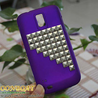 T-mobile Samsung Galaxy S 2 II S2 T989 Purple Hard Case With Silvery Studs MB622
