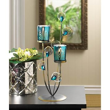 Peacock Plume Votive Candle Stand