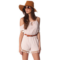 White Printed Romper With Cold Shoulder And Tassels