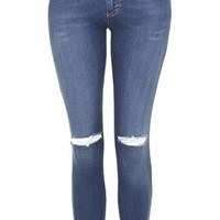 PETITE MOTO Ripped Leigh Jeans - Mid Stone