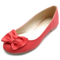 Ollio Women's Ballet Shoe Down Cute Comfort Ribbon Accent Flat