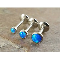 Turquoise Blue Fire Opal 16 Gauge (8mm) Cartilage Earring Tragus Monroe Helix Piercing You Choose Stone Size
