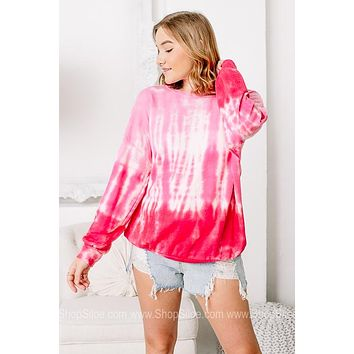 For The Fun Times Ombre Tie Dye Top   Pink
